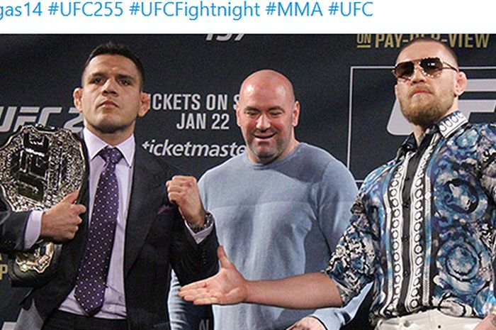 Rafael dos Anjos (kiri) dan Conor McGregor (kanan) pernah direncanakan untuk saling berhadapan pada Maret 2016 dalam event UFC 149.