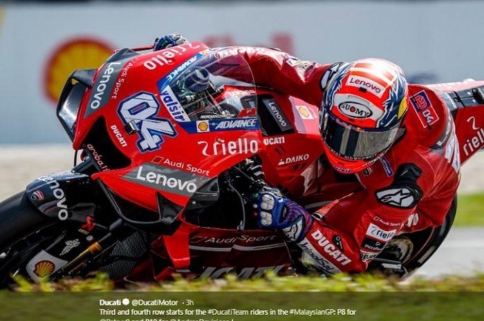 Pembalap Ducati, Andrea Dovizioso saat tampil pada babak kualifikasi MotoGP Malaysia 2019, Sabtu (2/11/2019)
