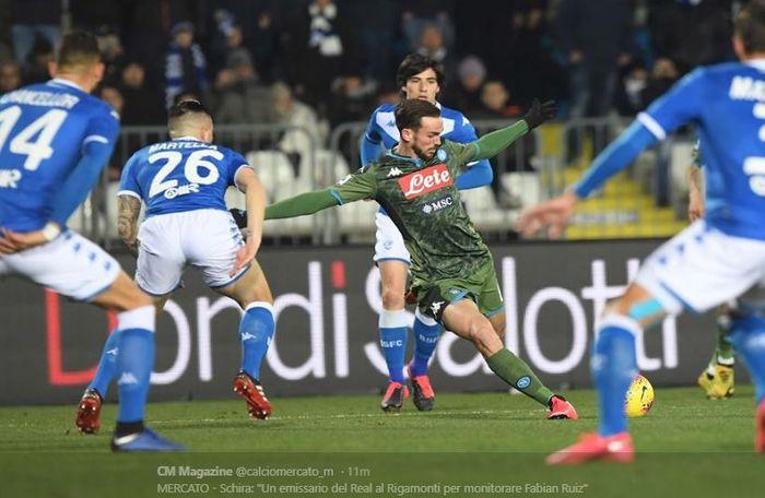Fabian Ruiz saat mencetak gol ke gawang Brescia pada laga pekan ke-25 Liga Italia di Stadio Mario Rigamonti, Jumat (22/2/2020) atau Sabtu dini hari WIB.
