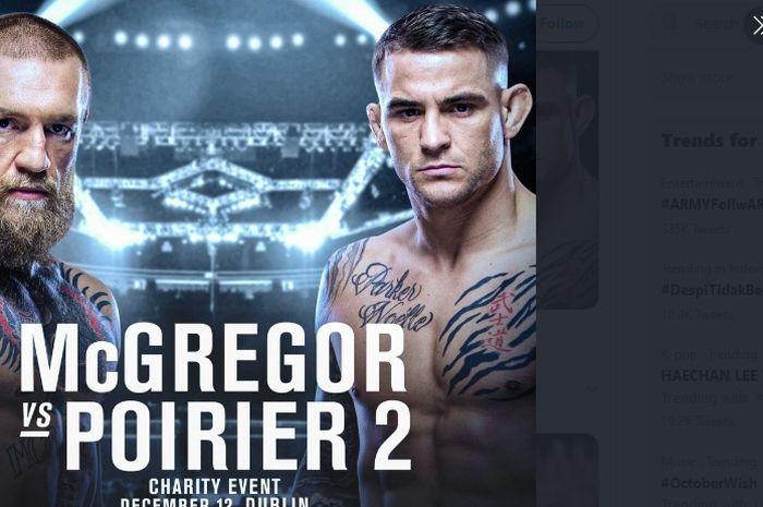 Poster pertandingan amal antara Conor McGregor dan Dustin Poirier di Dublin, Republik Irlandia, pada 12 Desember 2020.