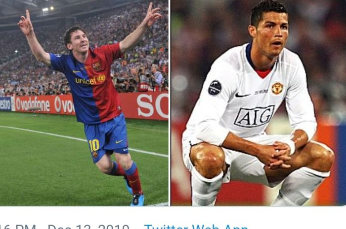 Lionel Messi menegaskan dominasinya atas Cristiano Ronaldo saat duel Barcelona versus Manchester United dalam laga final Liga Champions 2008-2009 di Stadion Olimpico, Roma.