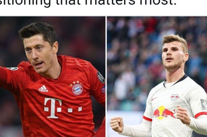 Illustrasi antara penyerang Bayern Muenchen, Robert Lewandowski dan bomber RB Leipzig, Timo Werner.