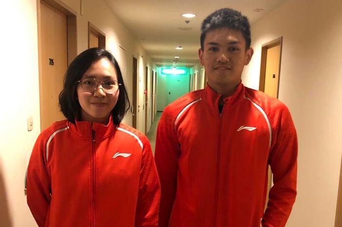 Salah satu ganda campuran Indonesia yang turun pada ajang Vietnam International Challenge 2019, Adnan Maulana (kanang) dan Mychelle Crhystine Bandaso (kiri)