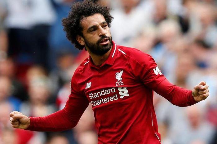 Selebrasi Mohamed salah saat mencetak gol