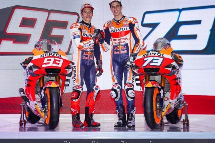 Duo pembalap Repsol Honda, Marc Marquez (kiri) dan Alex Marquez (kanan).