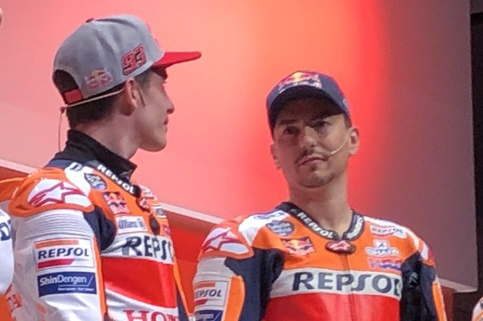 Jorge Lorenzo dan Marc Marquez menghadiri acara peluncuran tim Repsol Honda untuk MotoGP 2019.