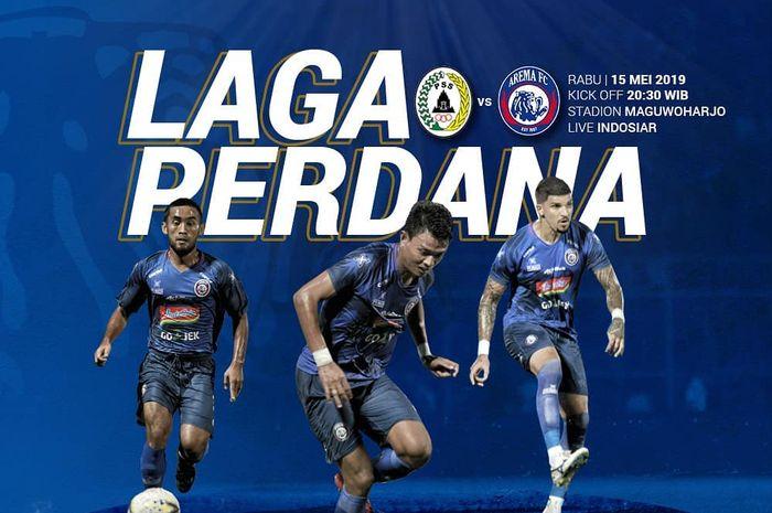 Live streaming PSS Sleman Vs Arema FC pada pembukaan kompetisi Liga 1 2019.
