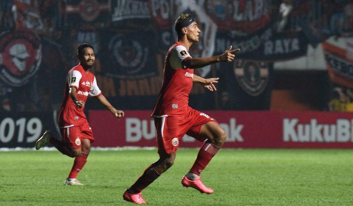 Selebrasi Bruno Matos pada laga Persija Jakarta kontra PSS Sleman di Stadion Maguwoharjo, Sleman, Jumat (15/3/2019).