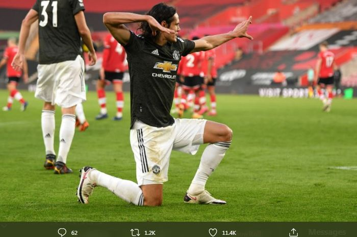 Edinson Cavani merayakan golnya untuk Manchester United ke gawang Southampton dalam laga Liga Inggris, 29 November 2020.