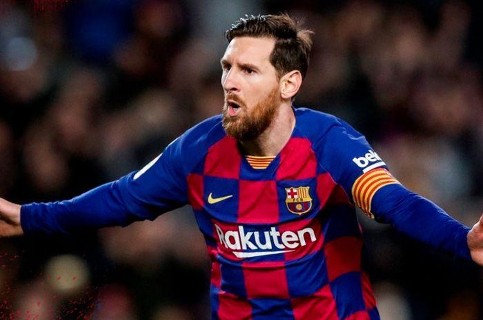 Selebrasi megabintang Barcelona, Lionel Messi, dalam laga Liga Spanyol kontra Real Sociedad di Camp Nou, Sabtu (7/3/2020).