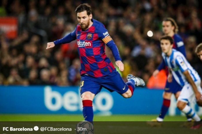 Aksi megabintang Barcelona, Lionel Messi, dalam laga kontra Real Sociedad di Camp Nou, Sabtu (7/3/2020).