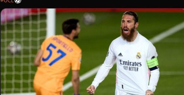 Sergio Ramos turut menyumbang satu gol dalam kemenangan 3-1 Real Madrid atas Atalanta pada laga leg kedua babak 16 besar Liga Champions 2020-2021.