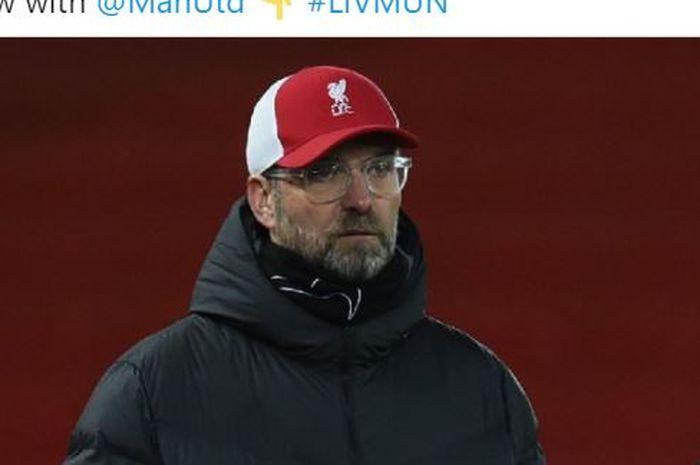 Ekspresi pelatih Liverpool, Juergen Klopp, dalam laga Liga Inggris kontra Manchester United di Stadion Old Trafford, Minggu (17/1/2020).