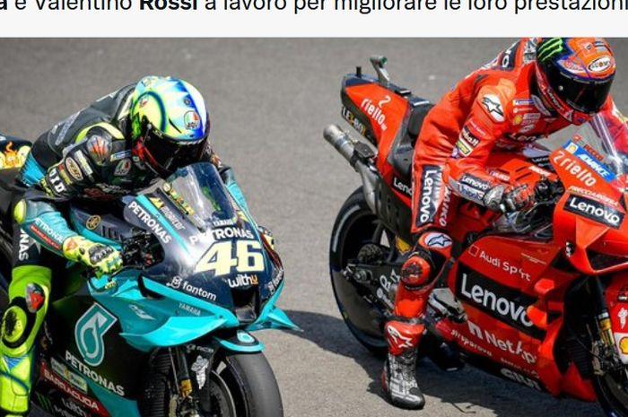 Pembalap Petronas Yamaha SRT, Valentino Rossi, dan pembalap Ducati, Francesco Bagnaia, yang merupakan anggota Akademi Pembalap VR46.