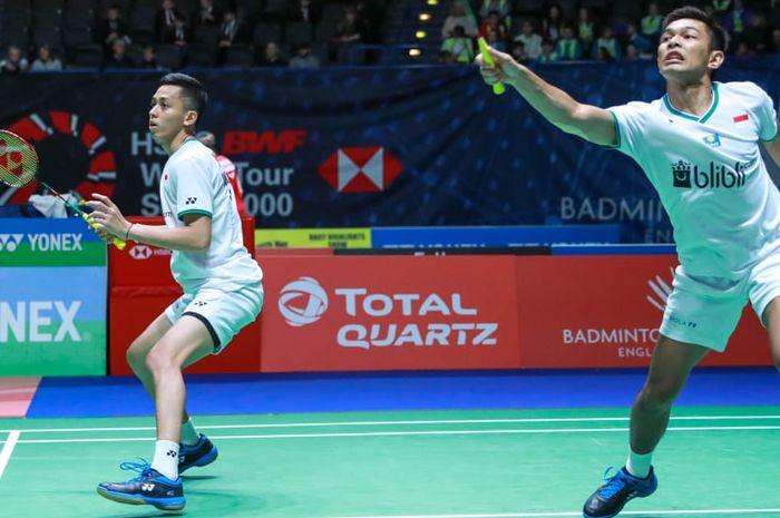 Pasangan ganda putra Indonesia, Fajar Alfian/Muhammad Rian Ardianto, pada babak pertama All England Open 2020 di Arena Birmingham, Inggris, Rabu (11/3/2020).