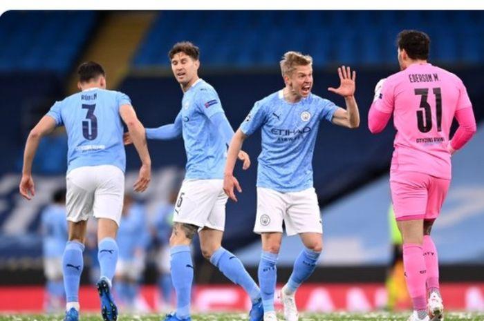 Pemain Manchester City merayakan gol kala melawan PSG, Selasa (4/5/2021) waktu setempat.