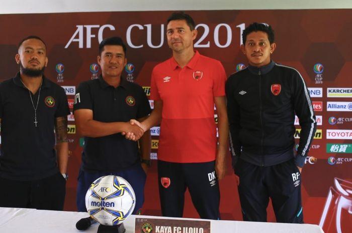 Kaya FC dan PSM Makassar saat memberikan keterangan pers, Selasa (16/4/2019), jelang bentrokan kedua tim pada ajang Piala AFC.