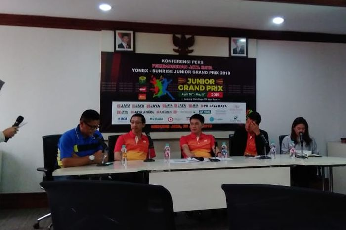Konferensi pers Pembangunan Jaya Raya Yonex-Sunrise Junior Grand Prix 2019 (30 April-5 Mei), di Gedung Jaya, Thamrin, DKI Jakarta, Jumat, (26/4/2019).