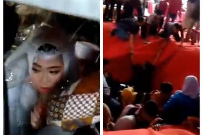 Viral panggung nikahan roboh hingga pengantin jatuh ke sungai