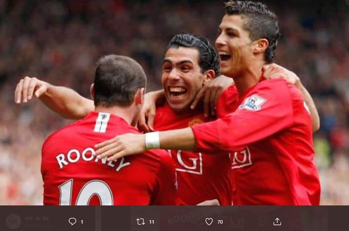Trio Manchester United terganas di Liga Inggris, Cristiano Ronaldo, Wayne Rooney dan Carlos Tevez.