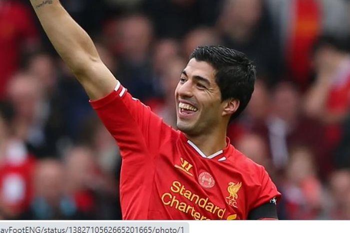 Luis Suarez saat masih mengenakan seragam Liverpool.