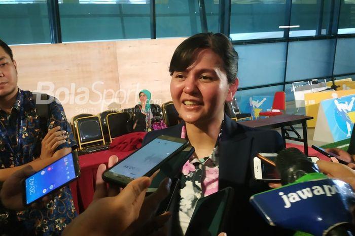 Sekjen PSSI Ratu Tisha Destria seusai menyambut timnas U-22 Indonesia di Bandara Soekarno-Hatta, Tangerang, Rabu (27/2/2019).