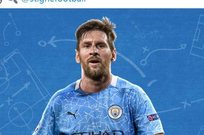 Megabintang Barcelona, Lionel Messi, diedit menggunakan seragam Manchester City.
