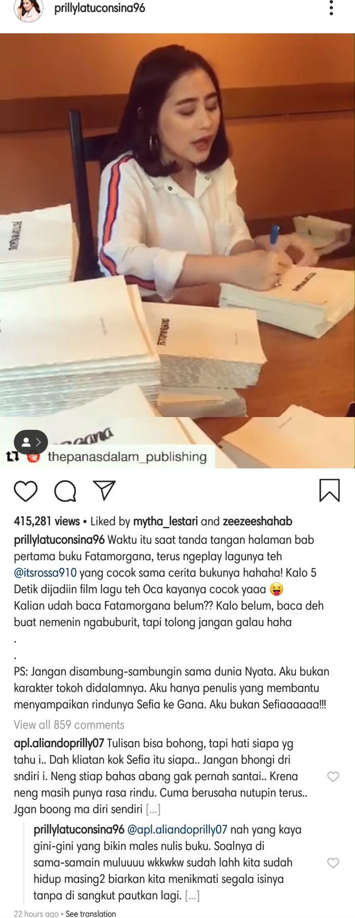 Prilly Latuconsina membalas komentar netizen yang menuding bahwa cerita di dalam novel tersebut merupakan curahan kerinduan Prilly terhadap Aliando.