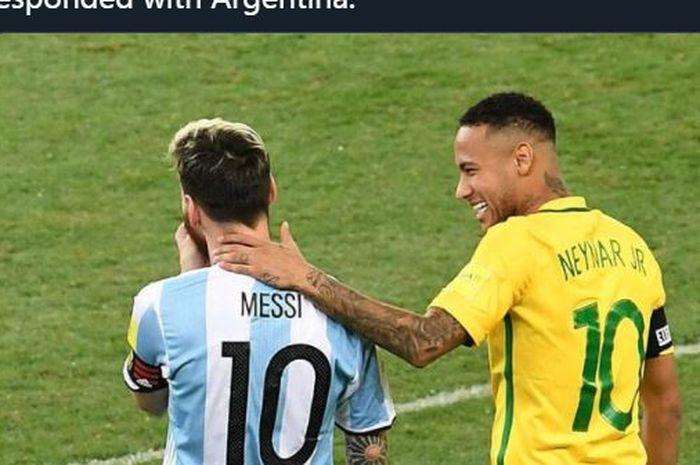 Neymar dan Lionel Messi bertemu dalam duel Brasil vs Argentina.