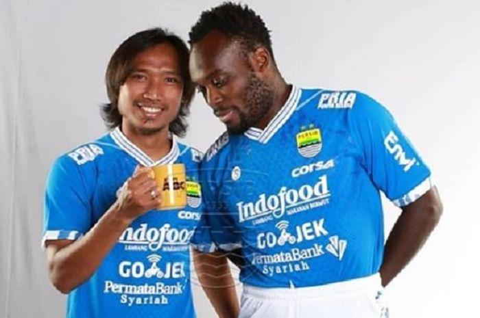 Dua mantan pemain Persib Bandung, Hariono (kiri) dan Michael Essien (kanan).