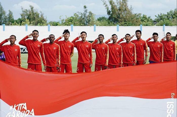 Pemain timnas U-15 Indonesia saat tampil di Piala AFF U-15 2019.