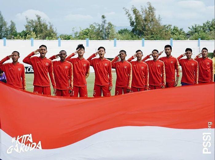 Pemain timnas U-15 Indonesia saat tampil di Piala AFF U1-5 2019.