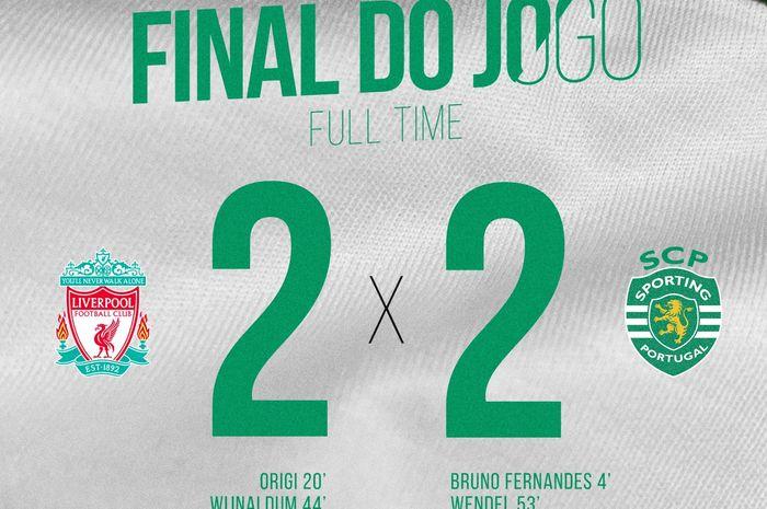 Liverpool vs Sporting Lisbon dalam laga uji coba di Stadion Yankee, Amerika Serikat, Kamis (25/7/2019)