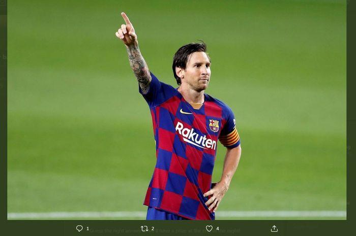 Ekspresi kapten Barcelona, Lionel Messi.