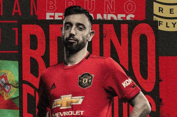 Grafis Manchester United untuk umumkan transfer Bruno Fernandes