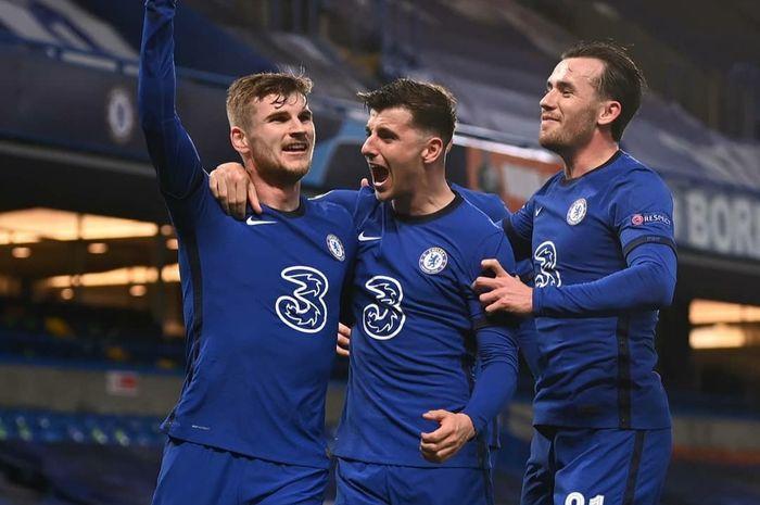 Tangkapan layar tiga pemain Chelsea yaitu Timo Werner, Mason Mount, dan Ben Chilwell ketika melawan Real Madrid di leg ke 2 semifinal Liga Champions 2021