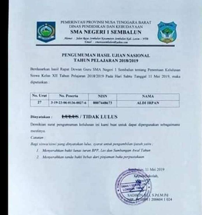 Surat pengumuman hasil ujian nasional milik Aldi Irpan yang beredar di Facebook.