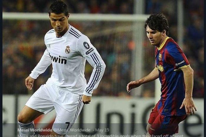 Cristiano Ronaldo dan Lionel Messi saat bertanding dalam duel Real Madrid kontra Barcelona.