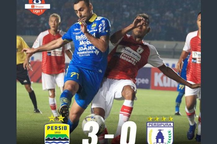 Artur Gevorkyan (kiri) mencetak dua gol Persib Bandung ke gawang Persipura dalam laga pekan pertama Liga 1 2019 di Stadion Si Jalak Harupat, Bandung, 18 Mei 2019.