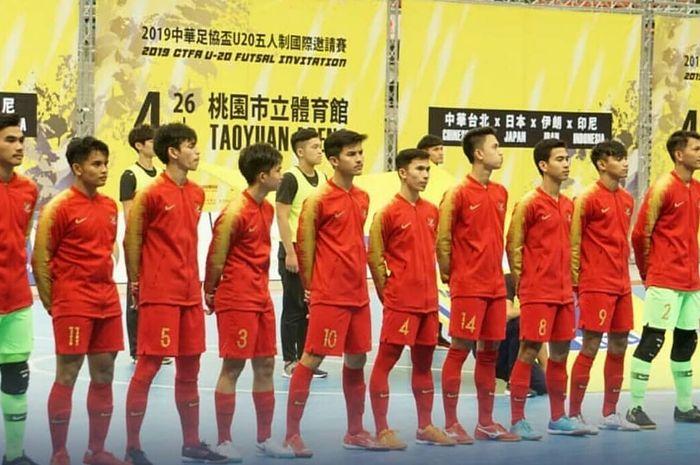 Timnas futsal U-20 Indonesia saat menghadapi Jepang pada laga CTFA Futsal Invitation 2019.
