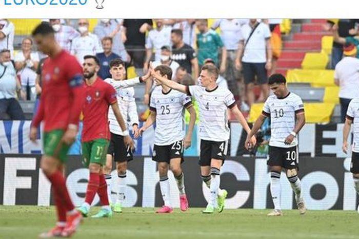 Para pemain timnas Jerman merayakan gol ke gawang timnas Portugal dalam laga Grup F EURO 2020 di Stadion Football Arena, Sabtu (19/6/2021).
