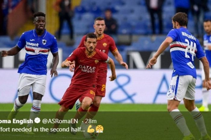 Duel Sampdoria versus AS Roma di Stadio Comunale Luigi Ferraris, Minggu (20/10/2019).