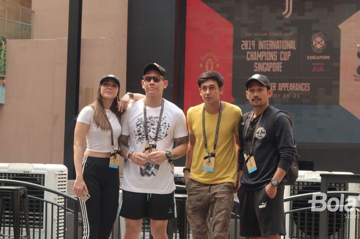 Media influencer Indonesia (Andrea Dian, Ganindra Bimo, Adipati Dolken, Ibnu Jamil) usai acara meet and greet Inter Milan di Resort World Sentosa, Singapura, Jumat (19/7/2019).