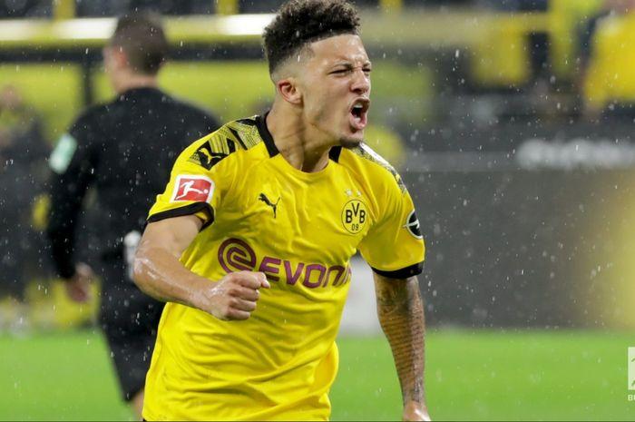 Jadon Sancho, menyumbang satu gol dan satu assist saat membawa Borussia Dortmund bermain imbang 3-3 melawan RB Leipzig pada pekan ke-16 Bundesliga, Selasa (17/12/2019) di Signal Iduna Park.