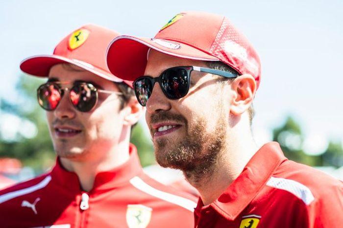 Dua pembalap Ferrari, Charles Leclerc (kiri) dan Sebastian Vettel (kanan)