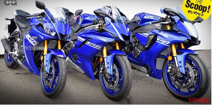Renderan desain Yamaha R25 facelift (paling kiri) bersama Yamaha R6 dan R1