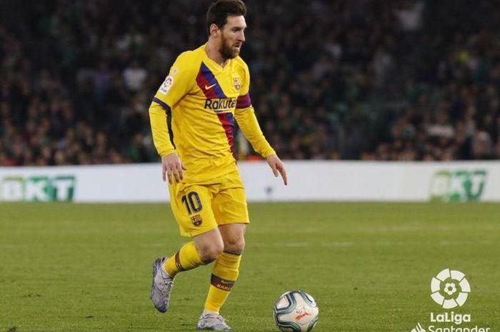 Megabintang Barcelona, Lionel Messi, dalam laga kontra Real Betis pada Minggu (9/2/2020).