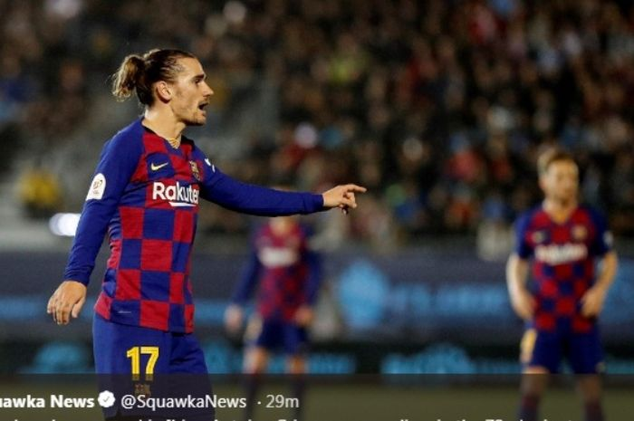 Penyerang Barcelona, Antoine Griezmann, dalma laga kontra Ibiza pada Rabu (22/1/2020).