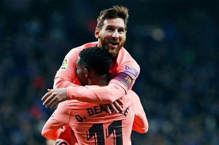 Lionel Messi dan Ousmane Dembele