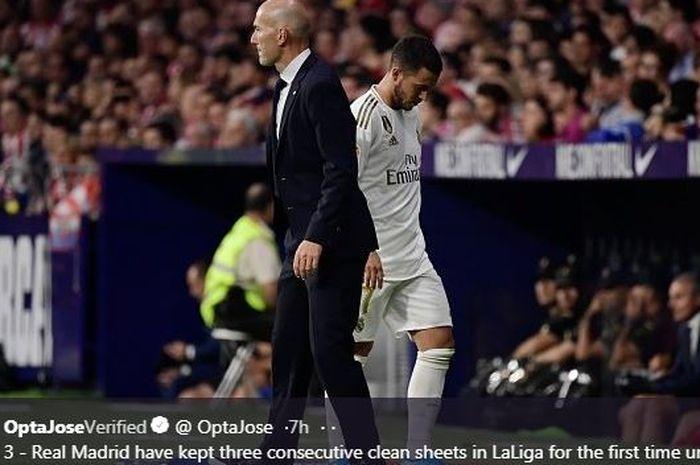 Eden Hazard saat digantikan pelatih Real Madrid, Zinedine Zidane.
